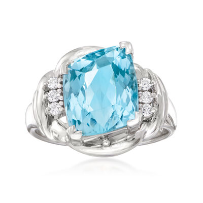 C. 1990 Vintage 3.61 Carat Aquamarine Ring in Platinum