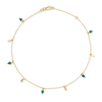 14kt Yellow Gold Anklet with Blue Enamel, , default