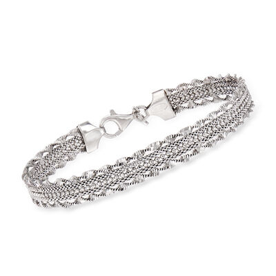 Italian Multi-Strand Chain Bracelet in Sterling Silver, , default