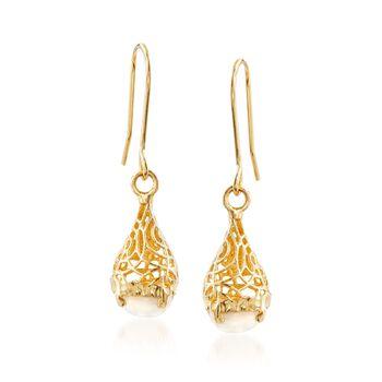 Italian 10mm Mother-Of-Pearl Openwork Drop Earrings in 14kt Gold , , default