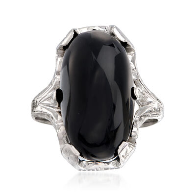 C. 1950 Vintage Oblong Cabochon Black Onyx Ring in 18kt White Gold , , default