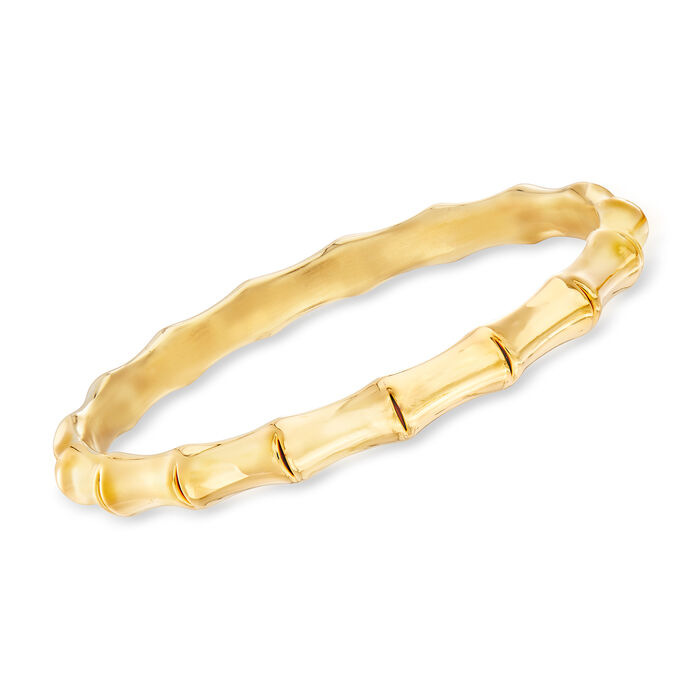 Italian Andiamo 14kt Yellow Gold Bamboo Bangle Bracelet, , default