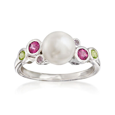 7.5-8mm Cultured Pearl and .33 ct. t.w. Multi-Gemstone Ring in Sterling Silver