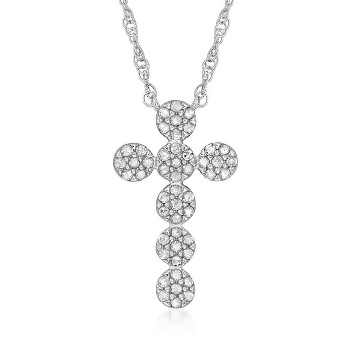 .25 ct. t.w. Diamond Cluster Cross Pendant Necklace in Sterling Silver