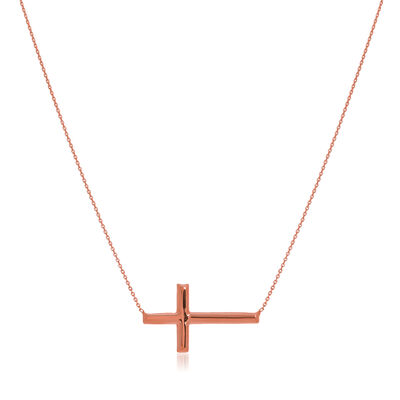 14kt Rose Gold East-West Sideways Cross Necklace