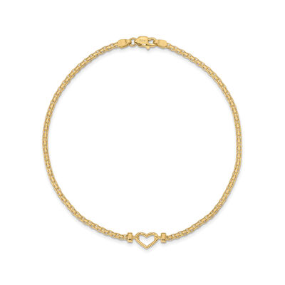 14kt Yellow Gold Heart Anklet, , default