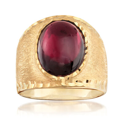 Italian 5.50 Carat Garnet Multi-Finished Ring in 18kt Gold Over Sterling