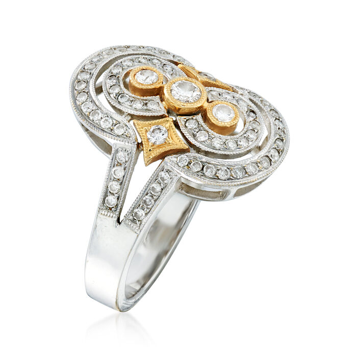 C. 2000 Vintage 1.00 ct. t.w. Diamond Dinner Ring in 18kt Two-Tone Gold
