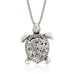 Sterling Silver Turtle Pendant Necklace, , default