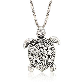 "Sterling Silver Turtle Pendant Necklace. 18"", , default"
