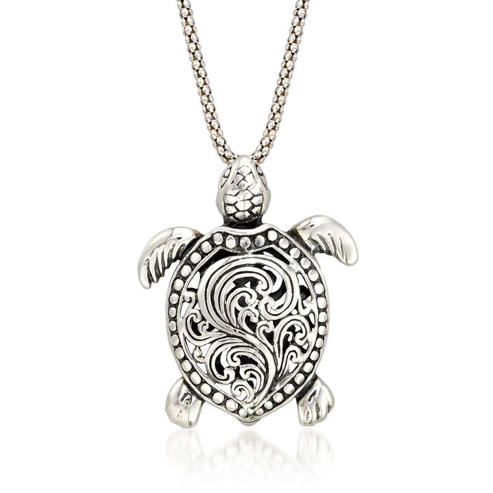 "Sterling Silver Turtle Pendant Necklace. 18"", , default"