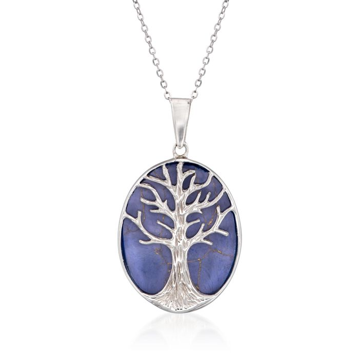 """Simulated Lapis Tree of Life Pendant Necklace in Sterling Silver. 18"""", , default"""