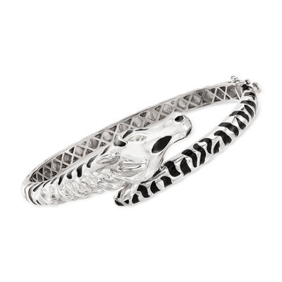 .10 ct. t.w. White Topaz and Black Enamel Zebra Bangle Bracelet in Sterling Silver