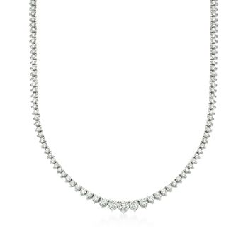 """7.00 ct. t.w. Graduated Diamond Tennis Necklace in 14kt White Gold. 16"""", , default"""