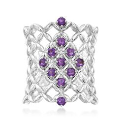 .50 ct. t.w. Amethyst Latticework Ring in Sterling Silver, , default