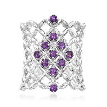 .50 ct. t.w. Amethyst Latticework Ring in Sterling Silver, , default