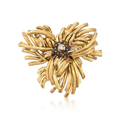 C. 1970 Vintage Tiffany Jewelry 1.20 ct. t.w. Sapphire and .20 Carat Diamond Floral Pin in 18kt Yellow Gold