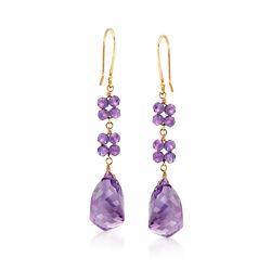 13.00 ct. t.w. Amethyst Drop Earrings in 14kt Yellow Gold    , , default