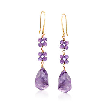13.00 ct. t.w. Amethyst Drop Earrings in 14kt Yellow Gold, , default