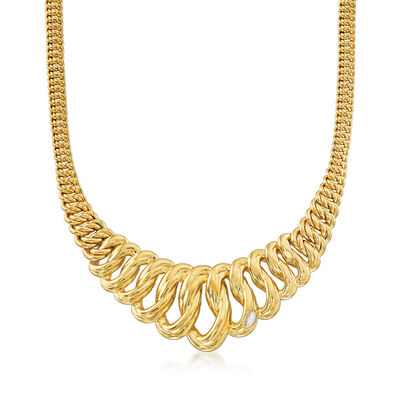Italian 18kt Yellow Gold Graduated Link Necklace, , default