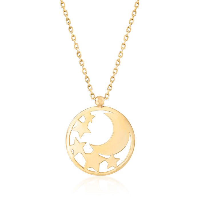 Italian 14kt Yellow Gold Star and Moon Cut-Out Disc Necklace