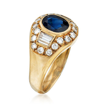 C. 1980 Vintage 2.00 Carat Sapphire and 1.25 ct. t.w. Diamond Ring in 18kt Yellow Gold. Size 8, , default