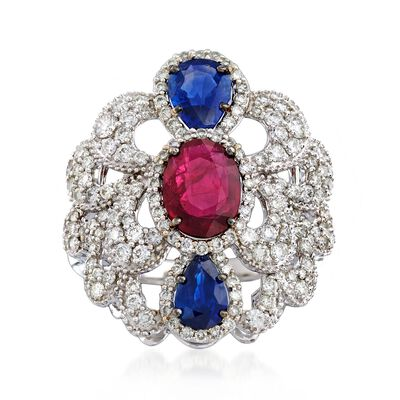 1.20 Carat Ruby and 1.10 ct. t.w. Sapphire Scalloped Ring with Diamonds in 18kt White Gold