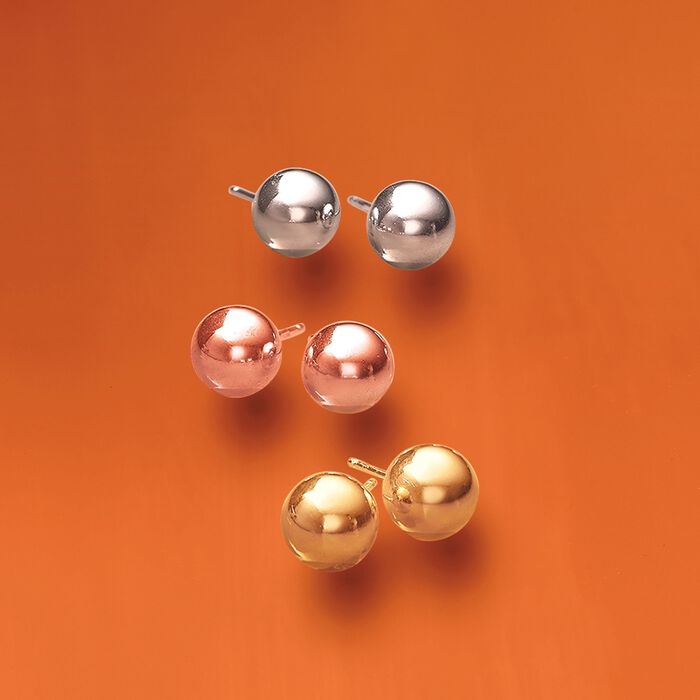 Tri-Colored Sterling Silver Jewelry Set: Three Pairs of 8mm Ball Stud Earrings