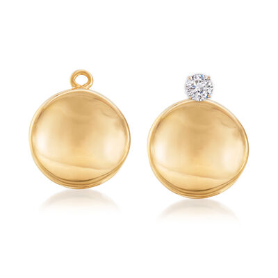 14kt Yellow Gold Concave Petite Disc Drop Earring Jackets, , default