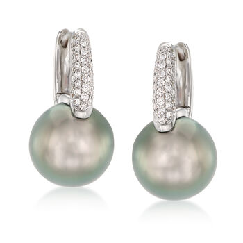 """Mikimoto """"Classic"""" 10mm A+ South Sea Pearl and .28 ct. t.w. Diamond Hoop Earrings in 18kt White Gold. 3/4"""", , default"""