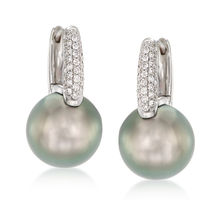 "Mikimoto ""Classic"" 10mm A+ South Sea Pearl and .28 ct. t.w. Diamond Hoop Earrings in 18kt White Gold"