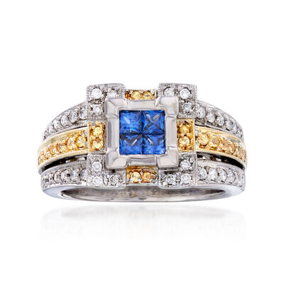 C. 1990 Vintage .60 ct. t.w. Yellow and White Diamond Ring with .50 ct. t.w. Sapphires in 18kt Two-Tone Gold, , default
