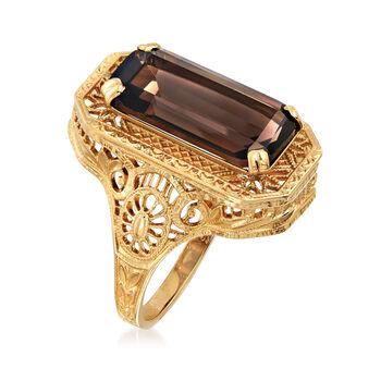 C. 1980 Vintage 4.75 Carat Smoky Quartz  Filigree Ring in 10kt Yellow Gold. Size 6, , default