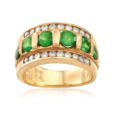 C. 1980 Vintage 1.30 ct. t.w. Emerald and .50 ct. t.w. Diamond Ring in 14kt Yellow Gold, , default