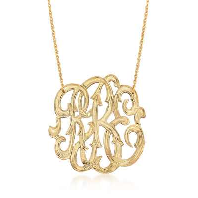 14kt Yellow Gold Over Sterling Open Script Monogram Necklace