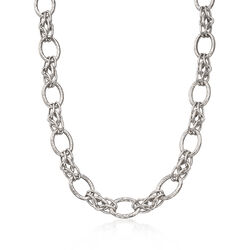 Italian Sterling Silver Multi-Size Link Necklace, , default