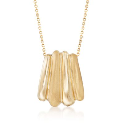 14kt Yellow Gold Ribbed Charm Necklace, , default