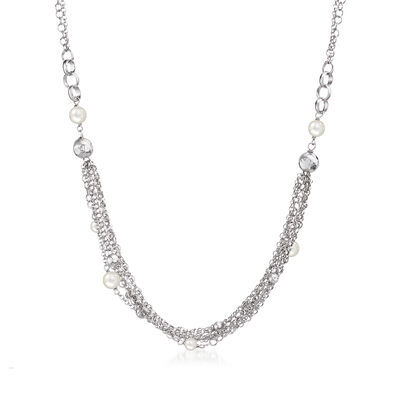 Italian 4.5-6.5mm Simulated Pearl and Bead Multi-Strand Necklace in Sterling Silver , , default