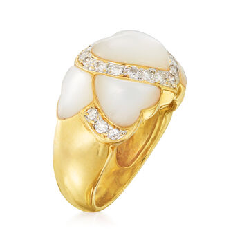 C. 1980 Vintage Mother-Of-Pearl and .35 ct. t.w. Diamond Heart Ring in 18kt Yellow Gold. Size 6