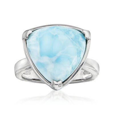 Larimar Triangle-Shaped Ring in Sterling Silver
