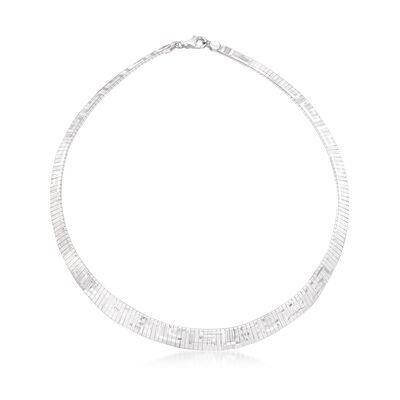 Italian Sterling Silver Greek Key Cleopatra Necklace, , default