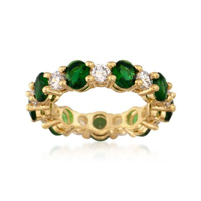 Oval Simulated Emerald and 1.10 ct. t.w. CZ Eternity Band in 14kt Gold Over Sterling, , default