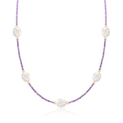 10-10.5mm Cultured Pearl and 10.00 ct. t.w. Amethyst Bead Station Necklace With 14kt Gold, , default