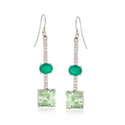 7.75 ct. t.w. Green Amethyst and .60 ct. t.w. White Topaz Drop Earrings With Green Chalcedony in Sterling, , default