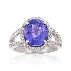 6.25 Carat Tanzanite and .62 ct. t.w. Diamond Ring in 14kt White Gold. Size 6.5, , default