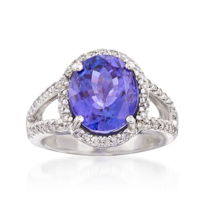 6.25 Carat Tanzanite and .62 ct. t.w. Diamond Ring in 14kt White Gold, , default
