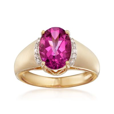 2.90 Carat Pink Topaz and Diamond-Accented Ring in 14kt Yellow Gold, , default