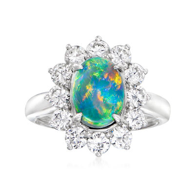 C. 1980 Vintage Black Opal and 1.30 ct. t.w. Diamond Ring in Platinum
