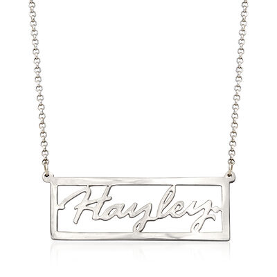 Sterling Silver Script Nameplate Necklace, , default