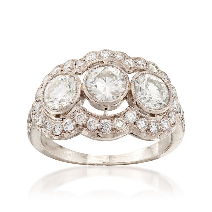 C. 1980 Vintage 2.15 ct. t.w. Diamond Three-Stone Ring in 18kt White Gold. Size 5.5